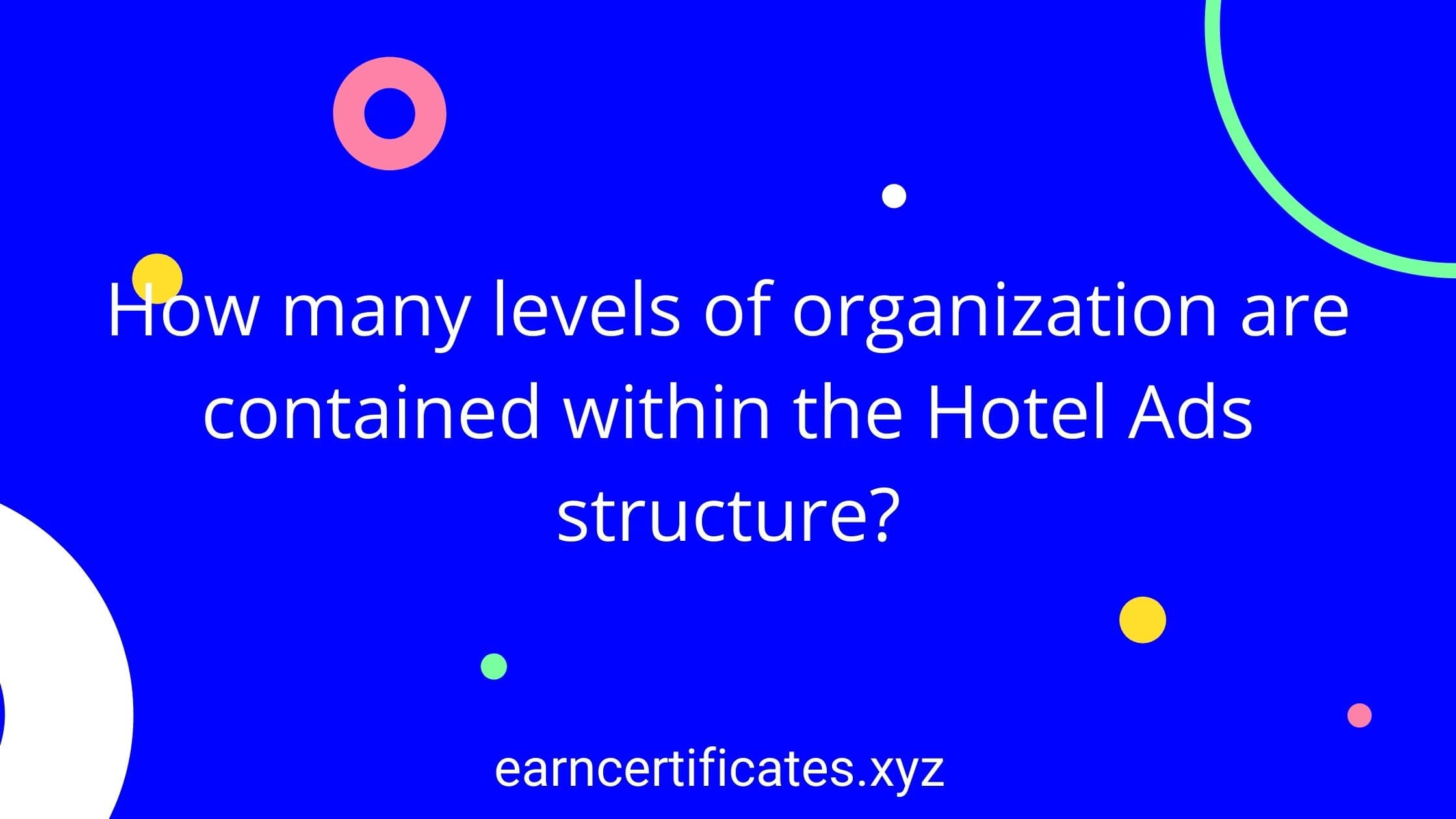 How many levels of organization are contained within the Hotel Ads structure?