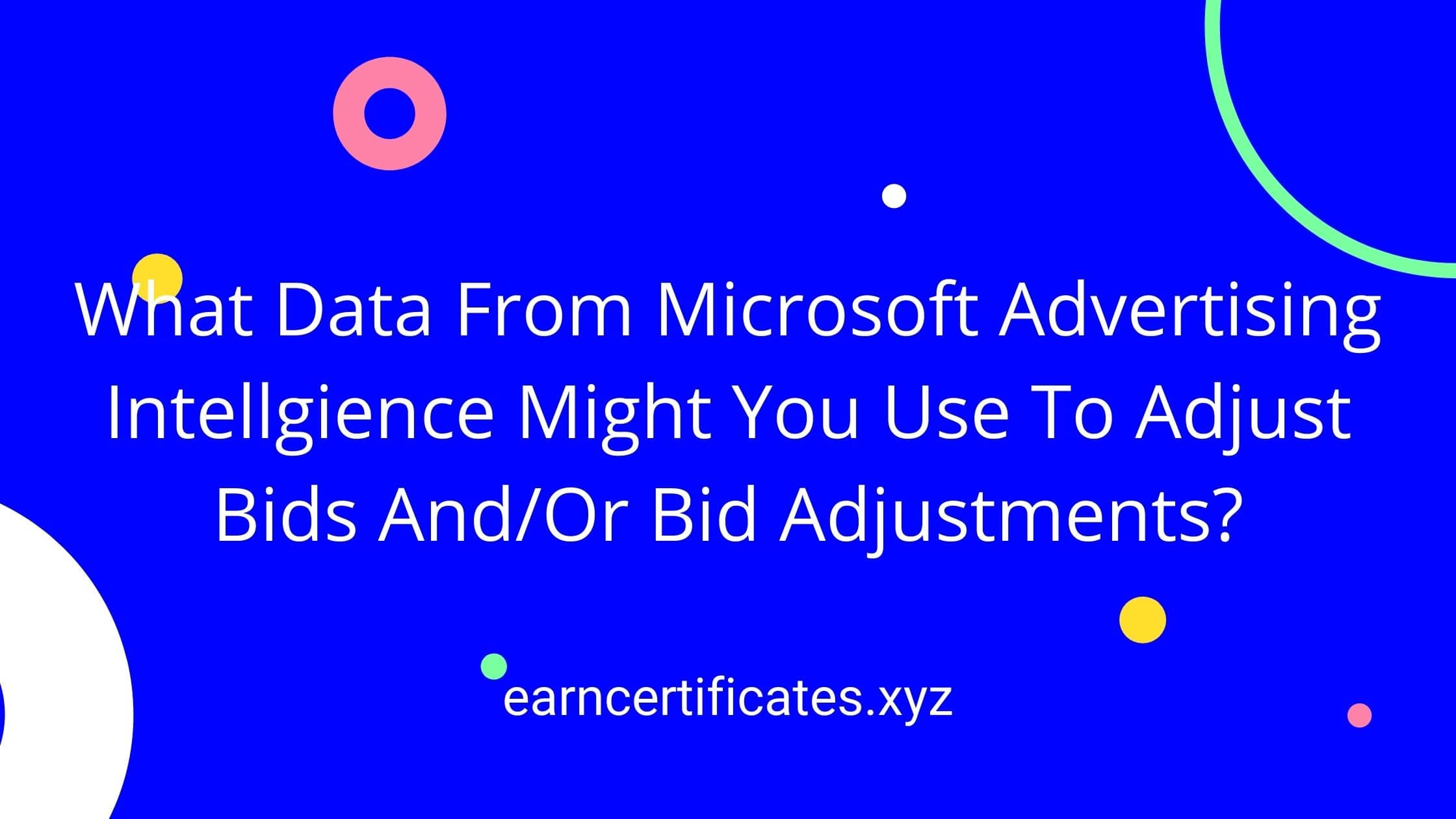What Data From Microsoft Advertising Intellgience Might You Use To Adjust Bids And/Or Bid Adjustments?