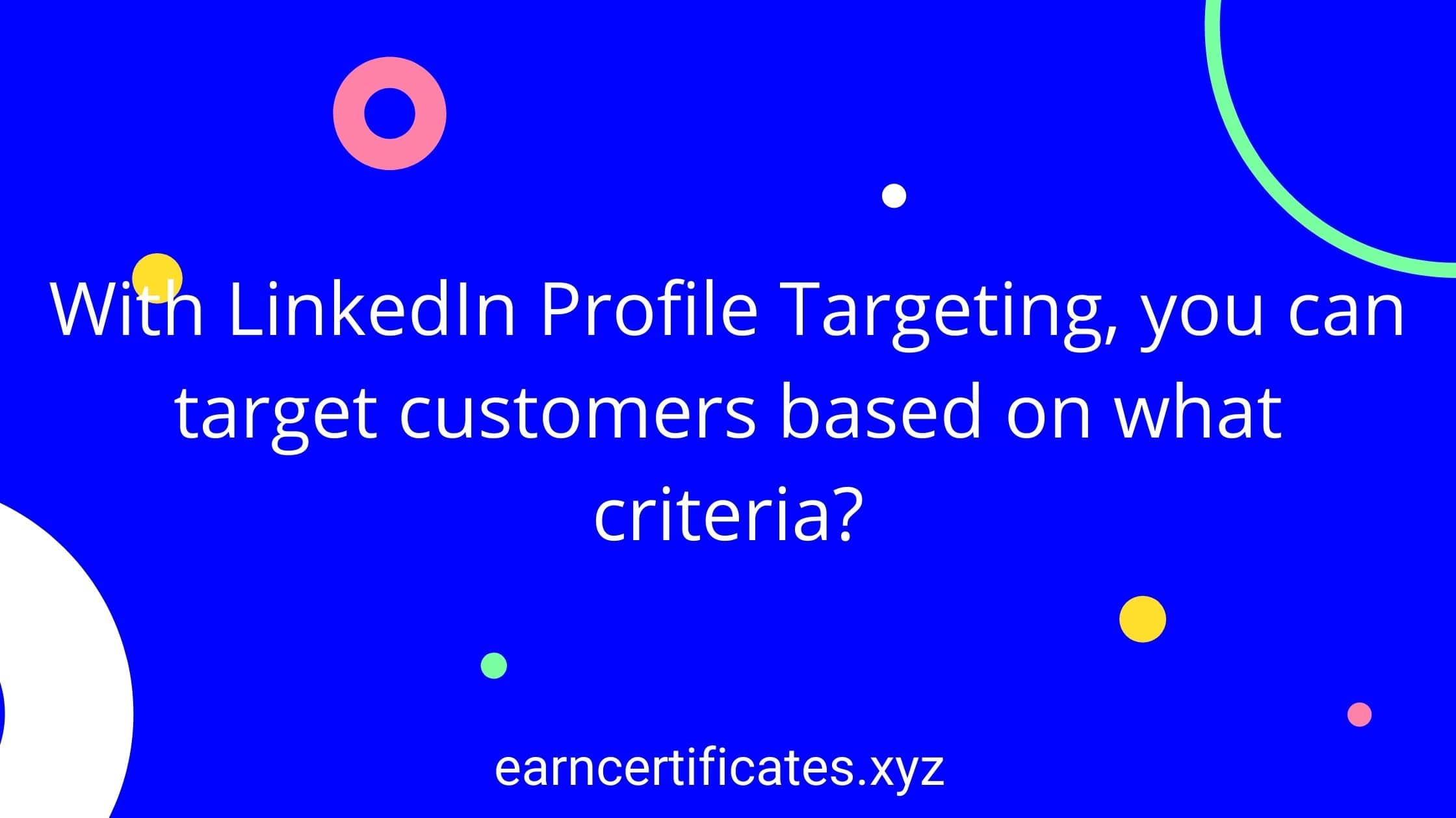 With LinkedIn Profile Targeting, you can target customers based on what criteria?