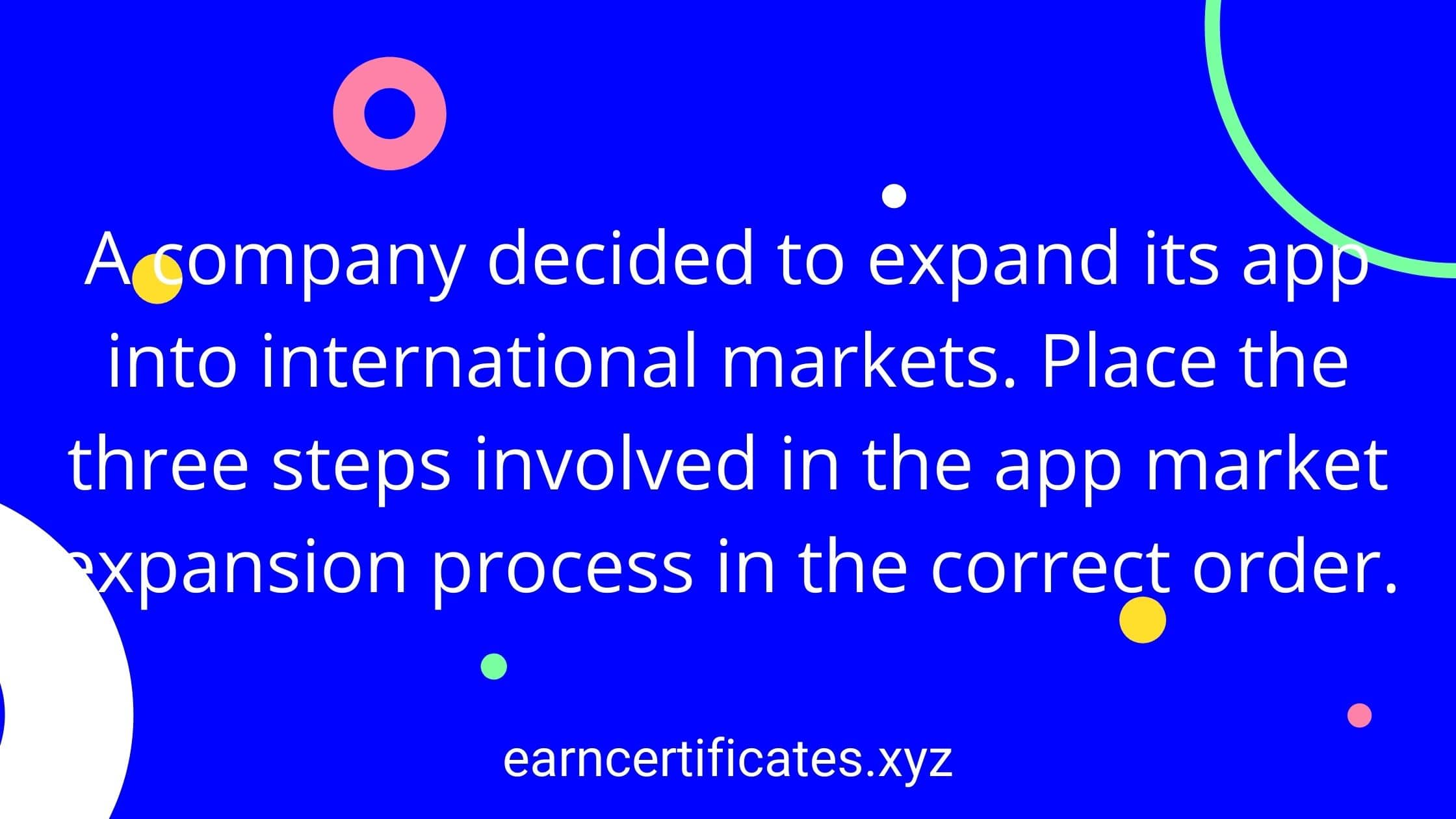 A company decided to expand its app into international markets. Place the three steps involved in the app market expansion process in the correct order.