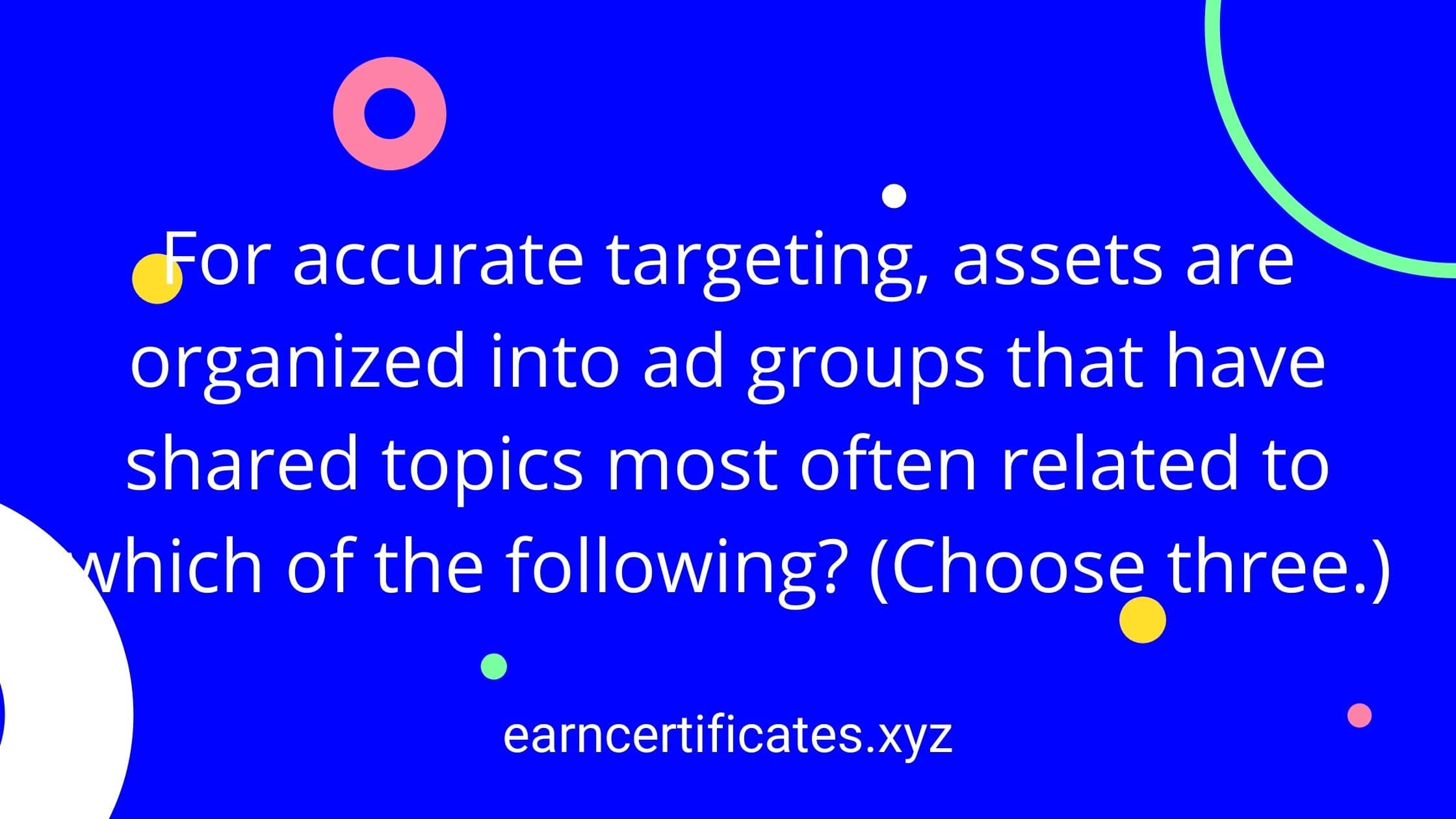 For accurate targeting, assets are organized into ad groups that have shared topics most often related to which of the following? (Choose three.)