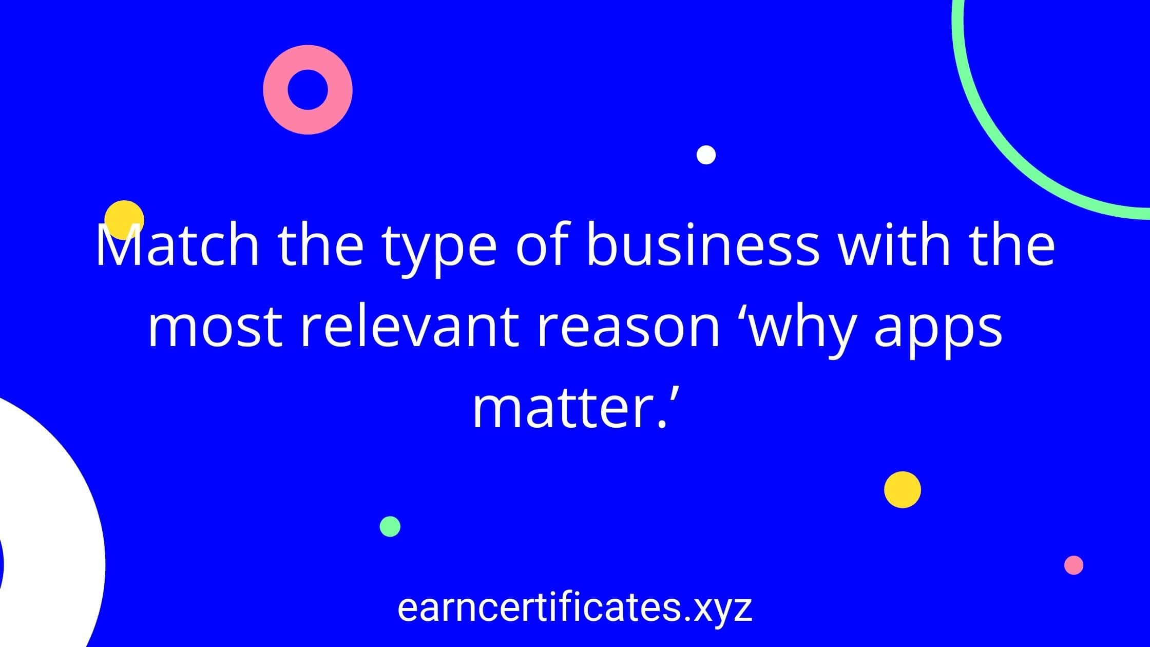 Match the type of business with the most relevant reason 'why apps matter.'