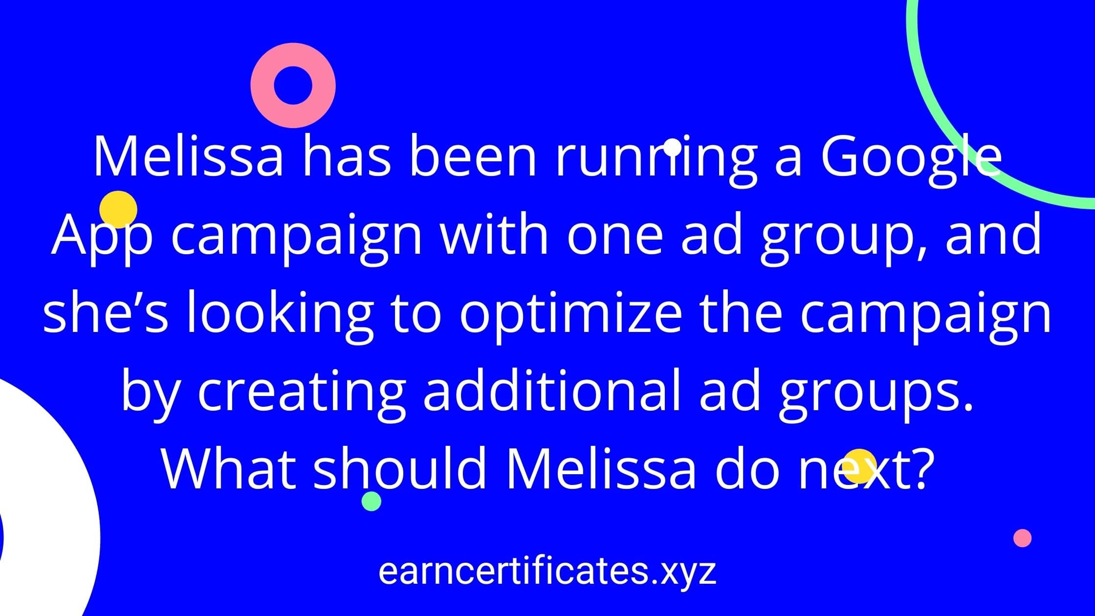 Melissa has been running a Google App campaign with one ad group, and she's looking to optimize the campaign by creating additional ad groups. What should Melissa do next?