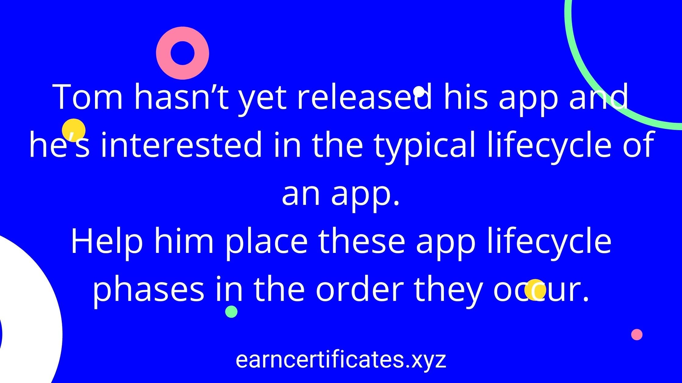 Tom hasn't yet released his app and he's interested in the typical lifecycle of an app. Help him place these app lifecycle phases in the order they occur.