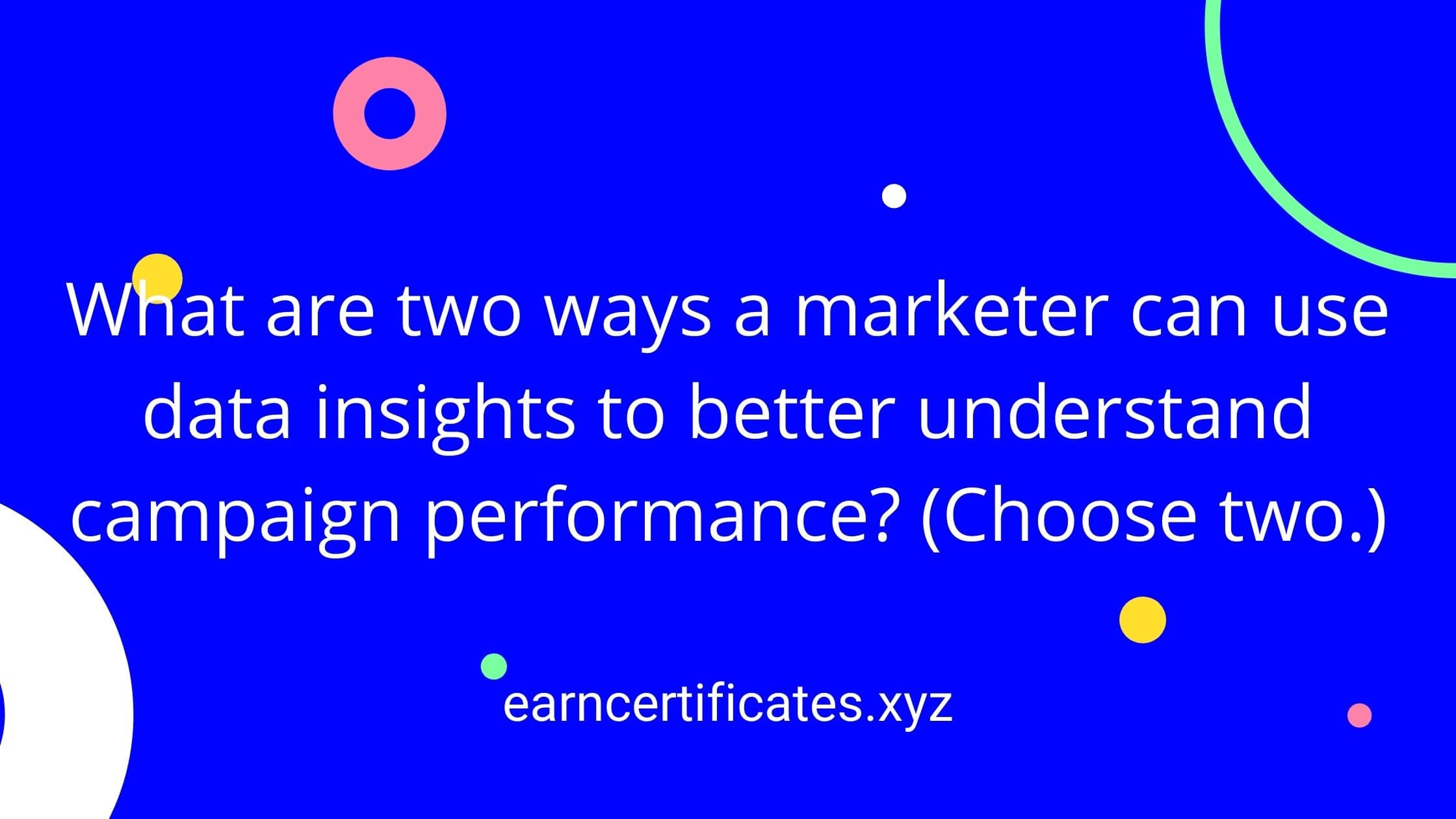 What are two ways a marketer can use data insights to better understand campaign performance? (Choose two.)